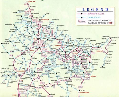 северная часть схемы железных дорог Индии.